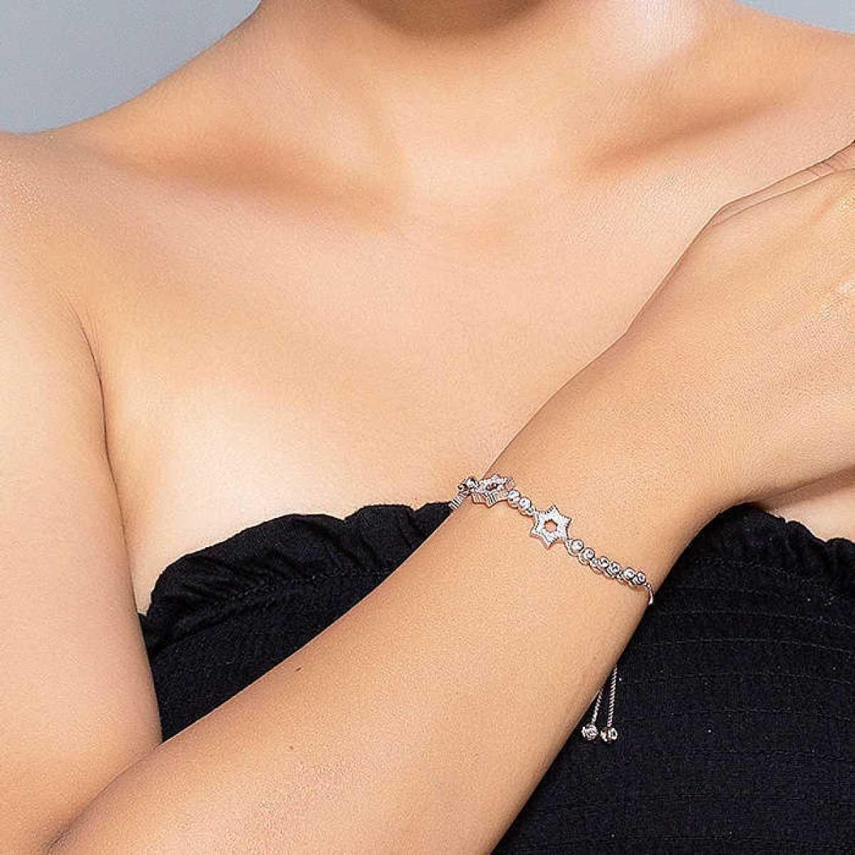 Three Star In Circle Silver Bracelet
