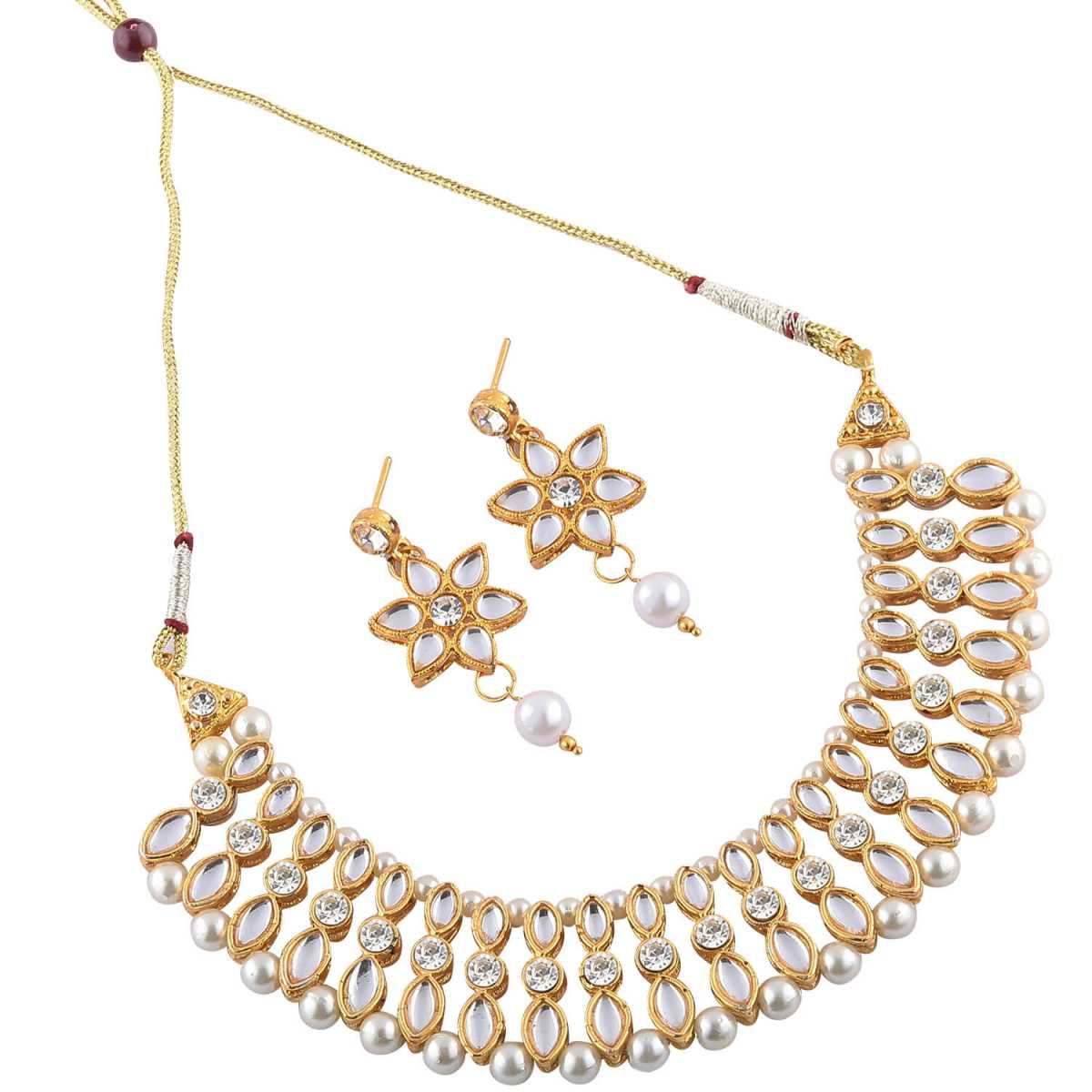 Goldplated white Stone studded necklace set for women jewellery