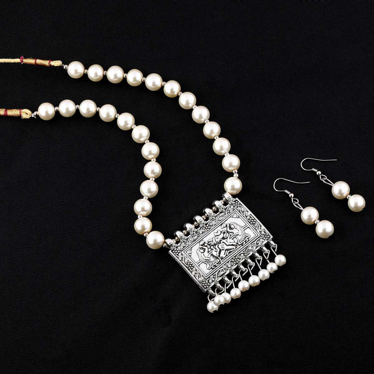 Shining pearl Oxidised Pendant White Pearl Jewellery set for Women