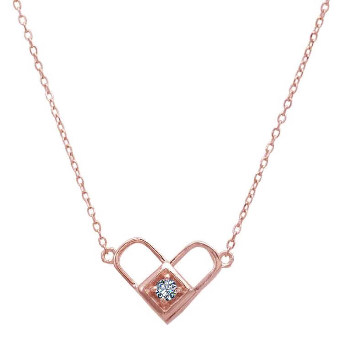 Rose Heart With Diamond  Chain