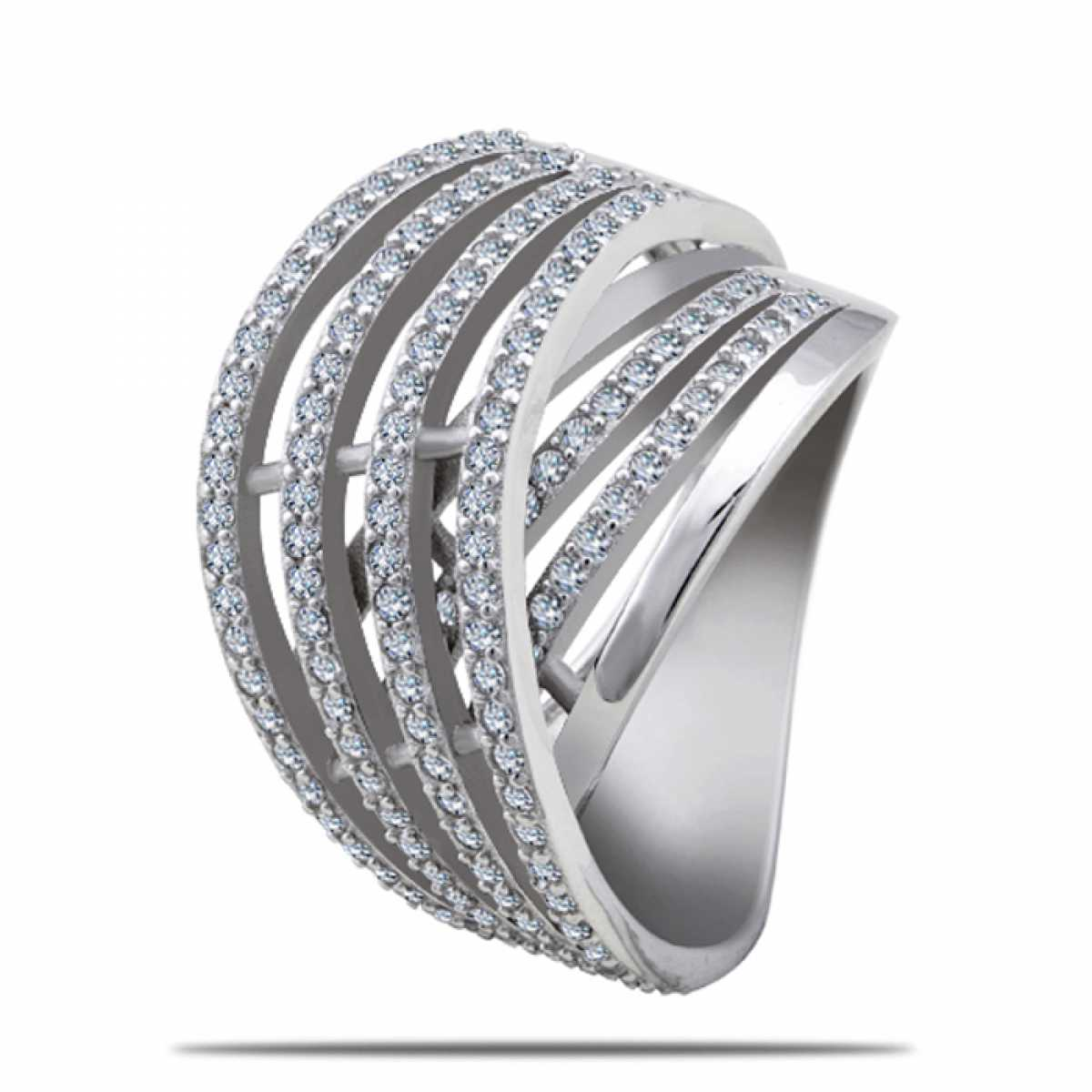 Crosing With Diamonds Silver Ring