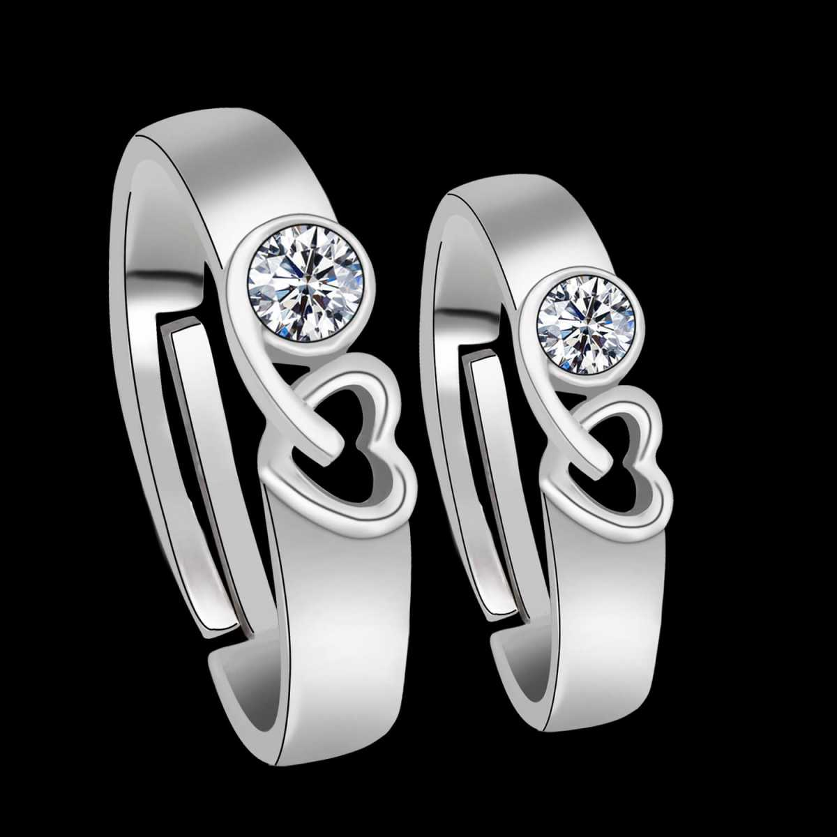 SilverPlated Exclusive Heart Design With Solitaire Diamond His And Her Adjustable proposal couple ring for Men And Women Jewellery