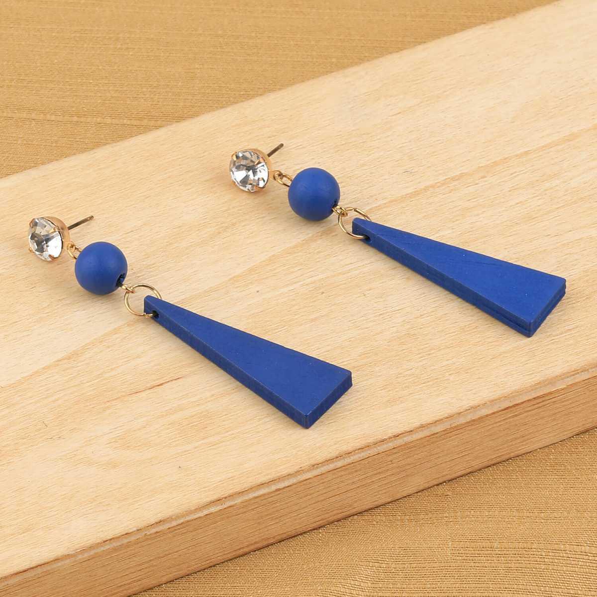 SILVER SHINE Exclusive Diamond Blue Wooden Earrings Long Dangler Light Weight for Girls and Women.