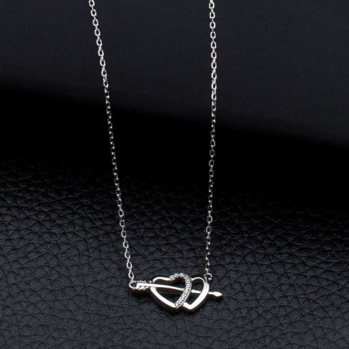 Diamond Heart Connected Silver  Chain