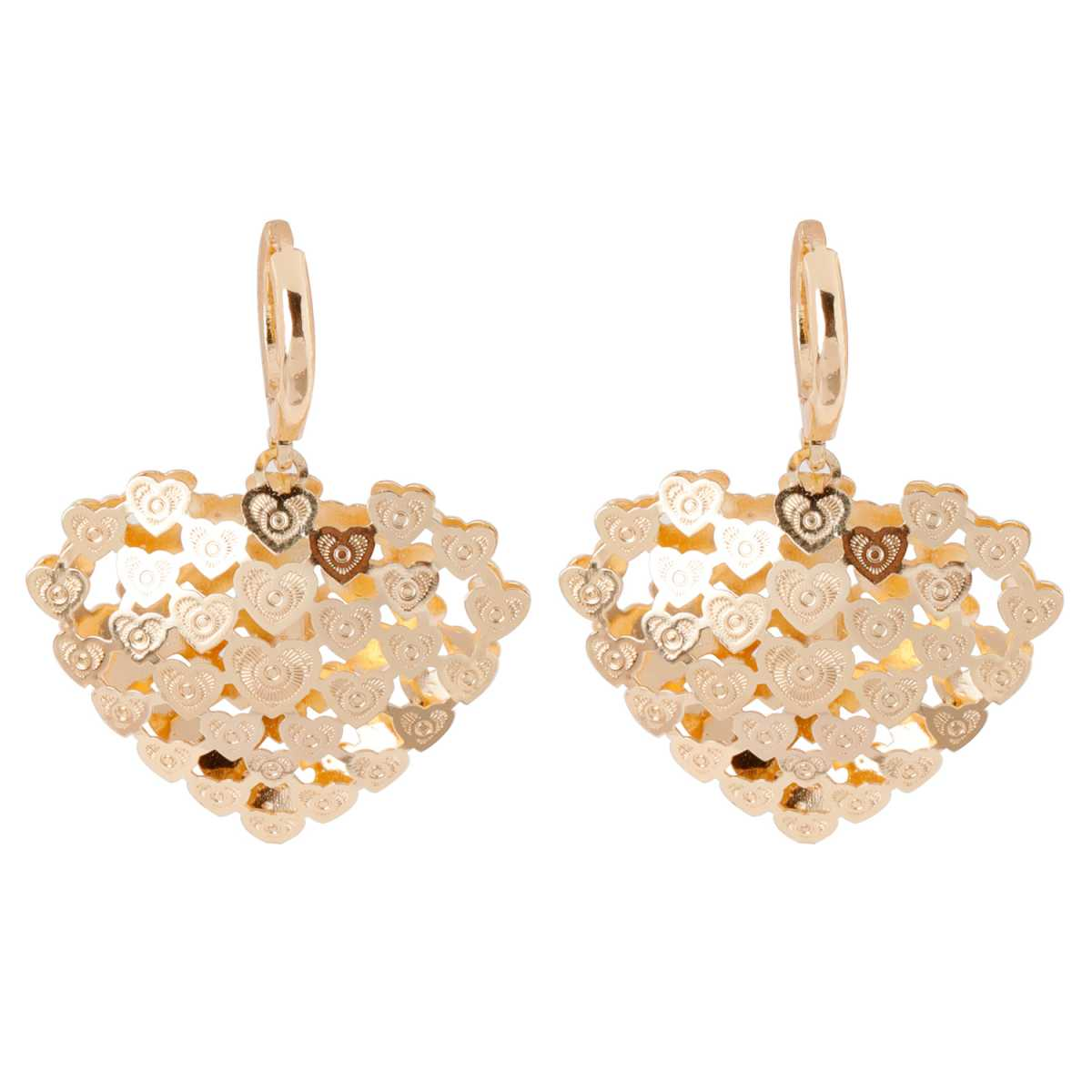 Silver Shine Spunky Golden Heart Clip On Bali Earring for Women