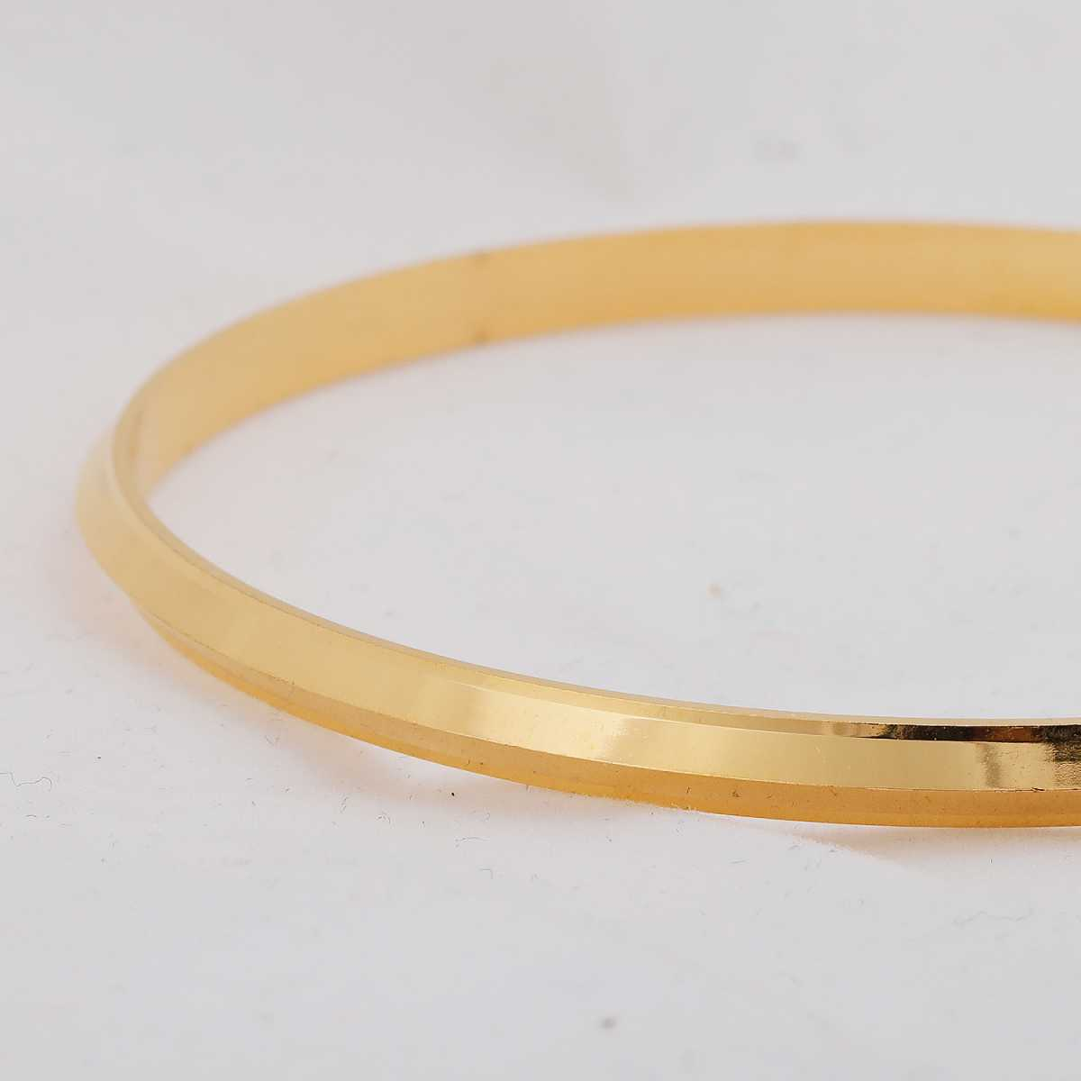 Silver Shine Gold Plated Metal Thin Punjabi Kada Bangle Bracelet For Boys and Mens.