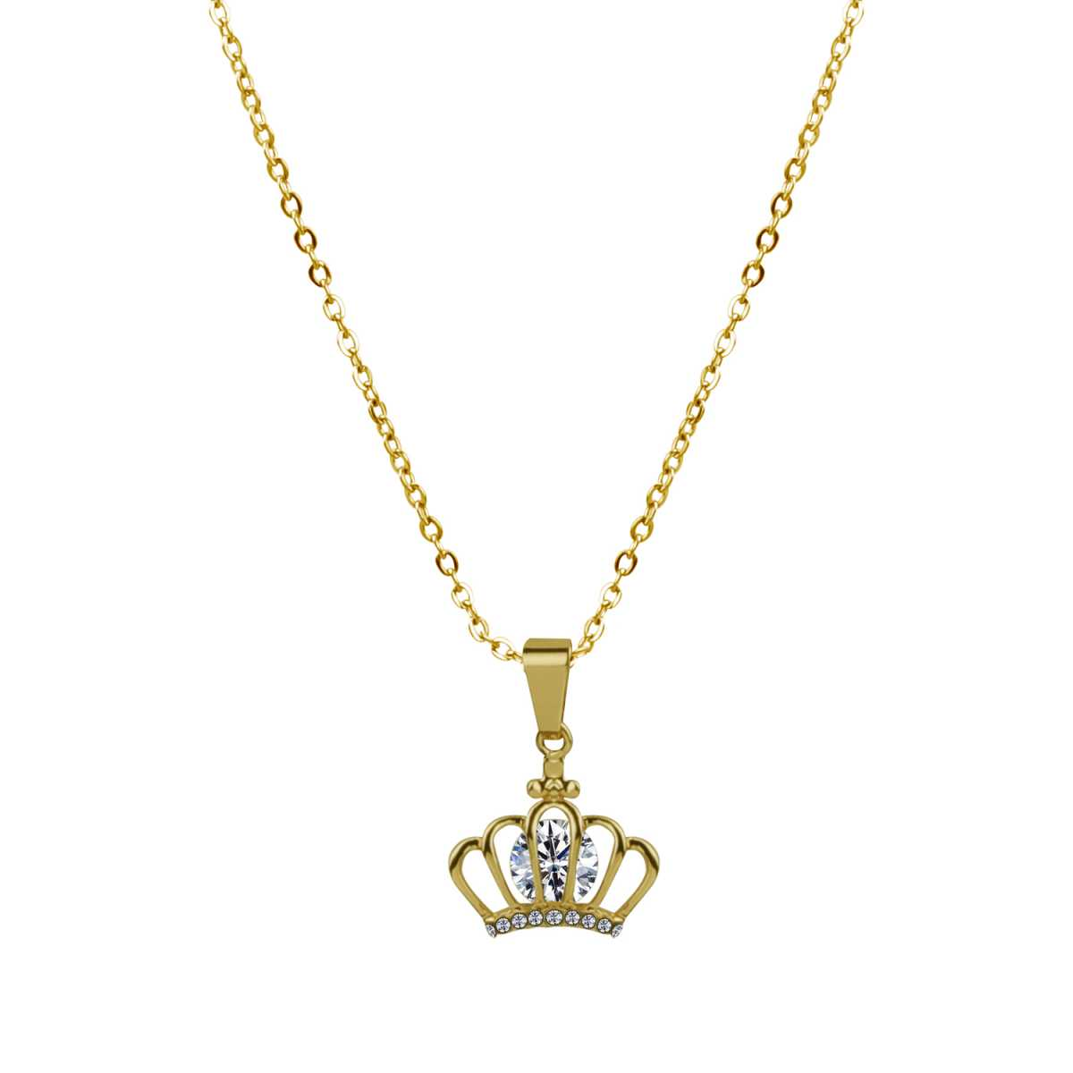 Classic Gold Crown Pendent Neckless 18