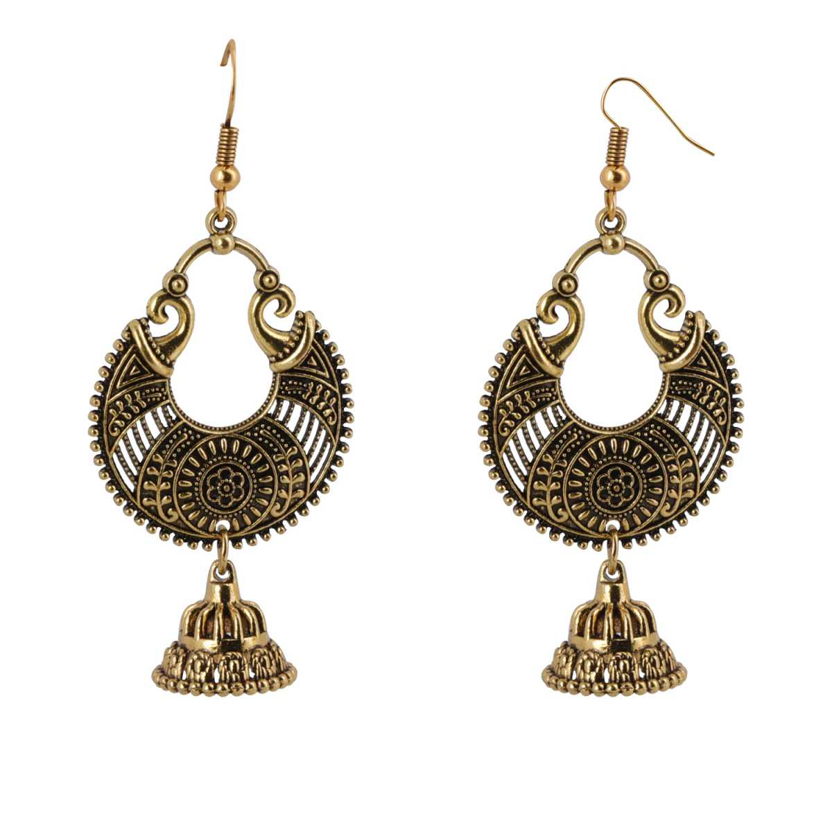 Silver Shine Spunky Golden Chandbali with Small Jhumki Earrings for Women