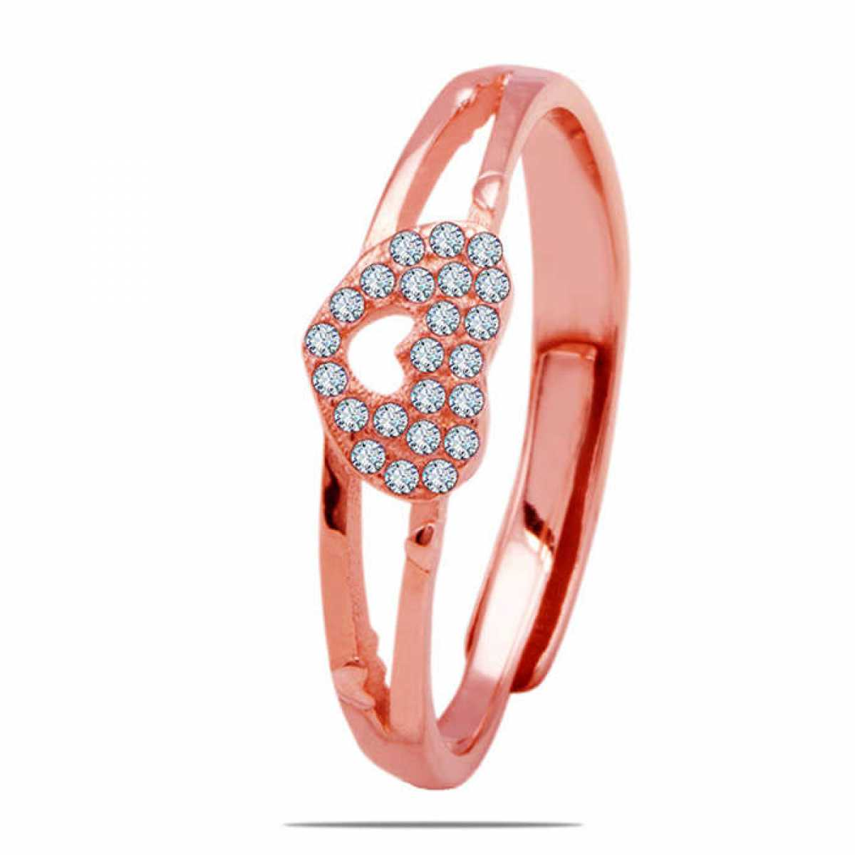 Rose Gold Diamond Heart Silver Ring