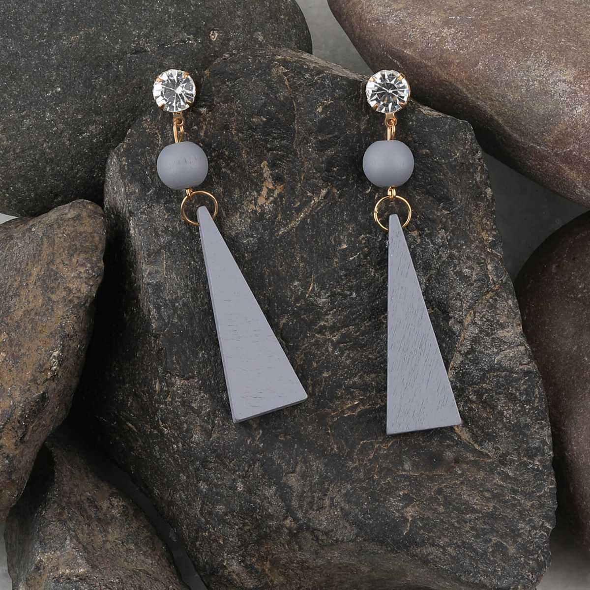 SILVER SHINE Antique Diamond Grey Wooden Dangler Earrings Perfect and Different Look for women girl.