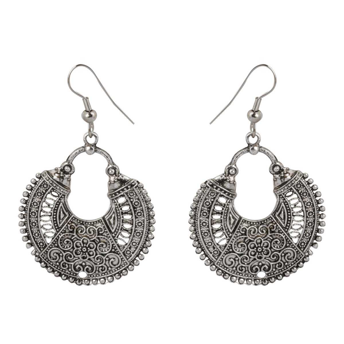 silver shine Shimmering Chandbali