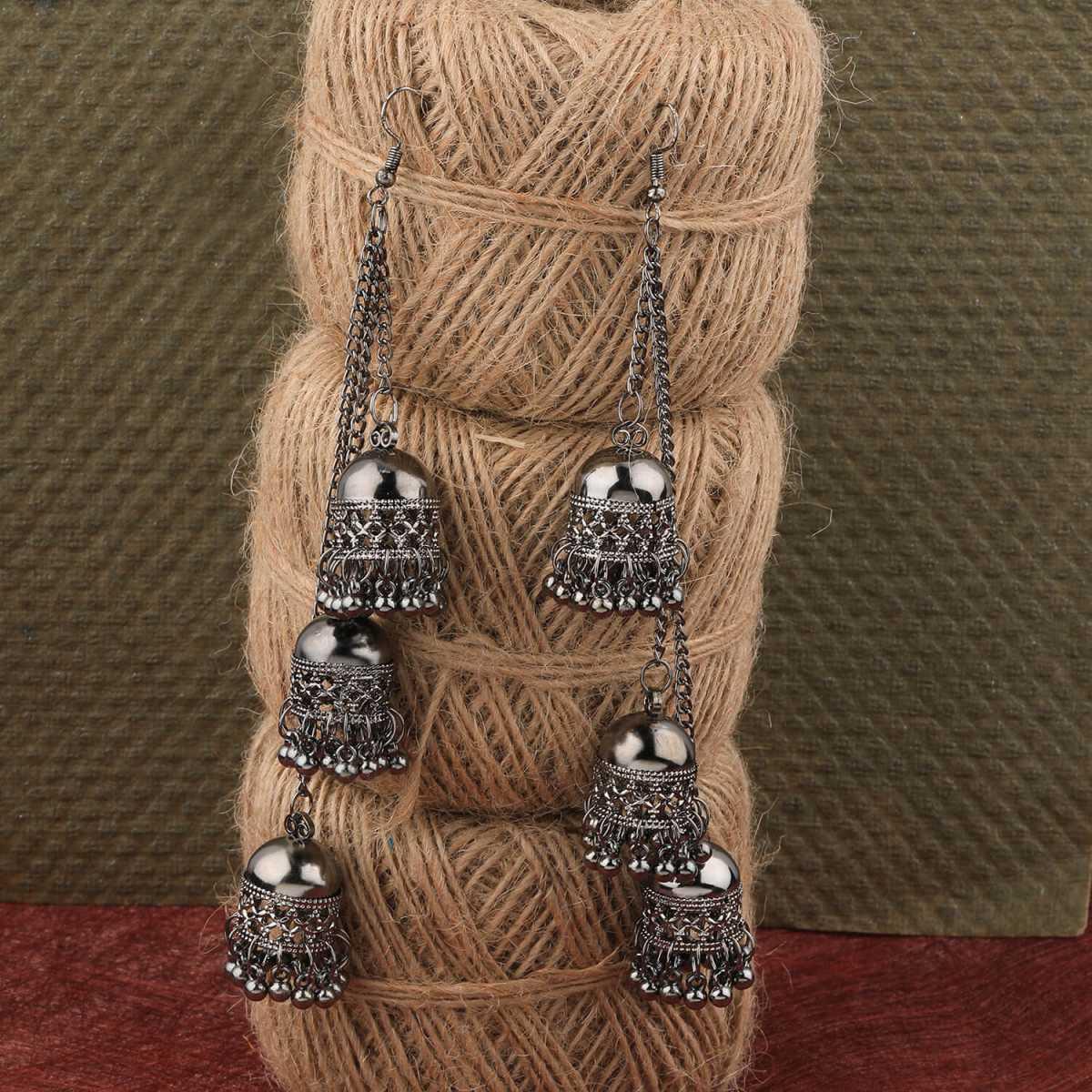 Silver Shine Pretty Silver Black Multi Drop Designer Earrings For Women Girl