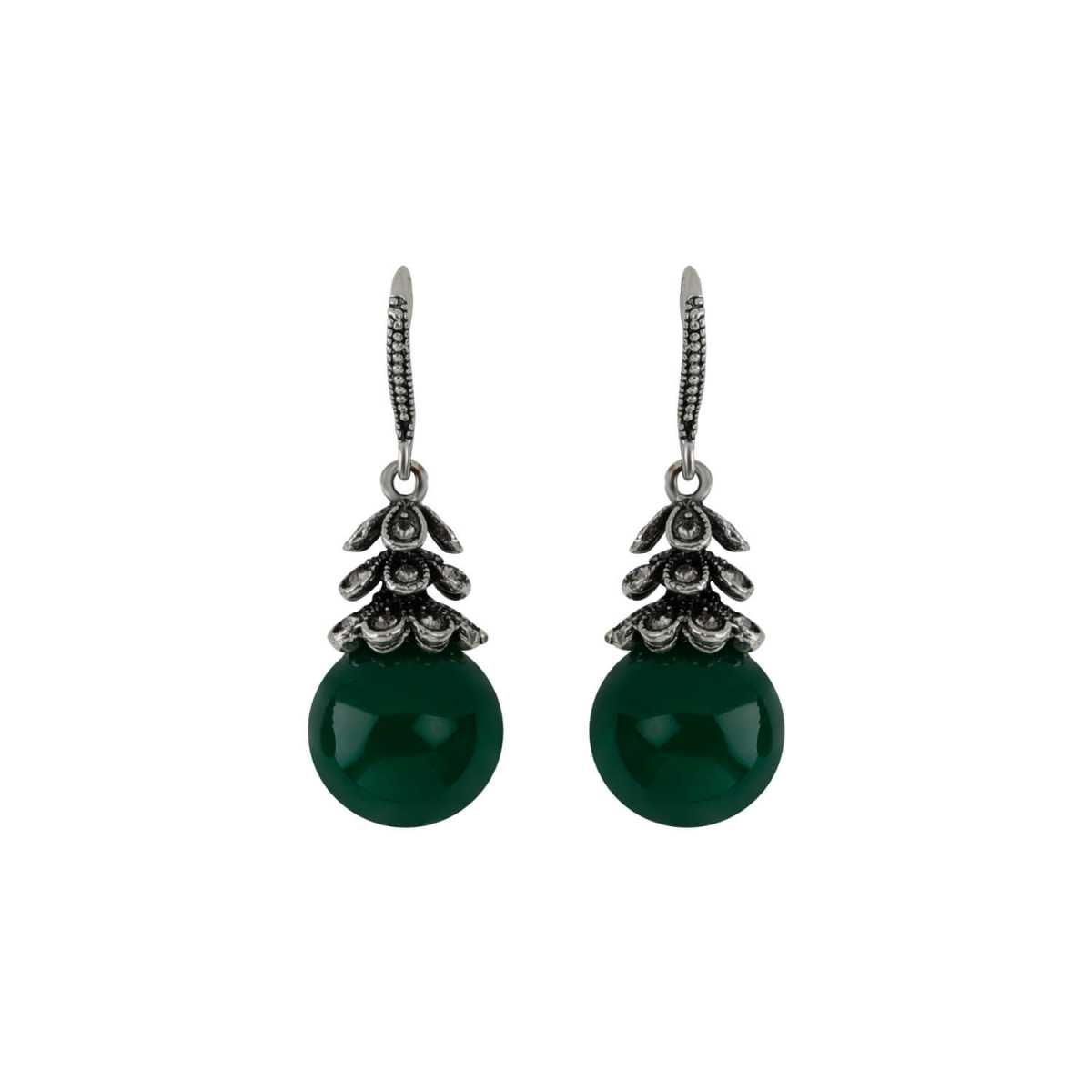 Silver Shine Oxidised Bottle Green Pearl Drop Party Wear Earring For Girls And Women Jewellery