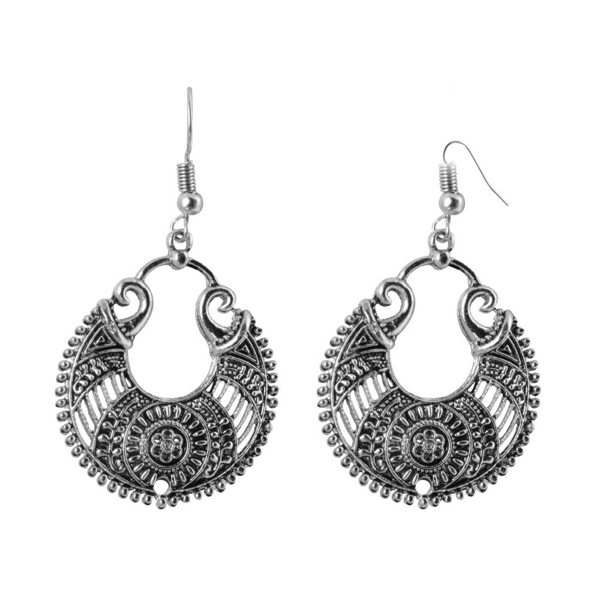 Silver Shine Classic Silver Arabic Design Chandbali Earrings for Women
