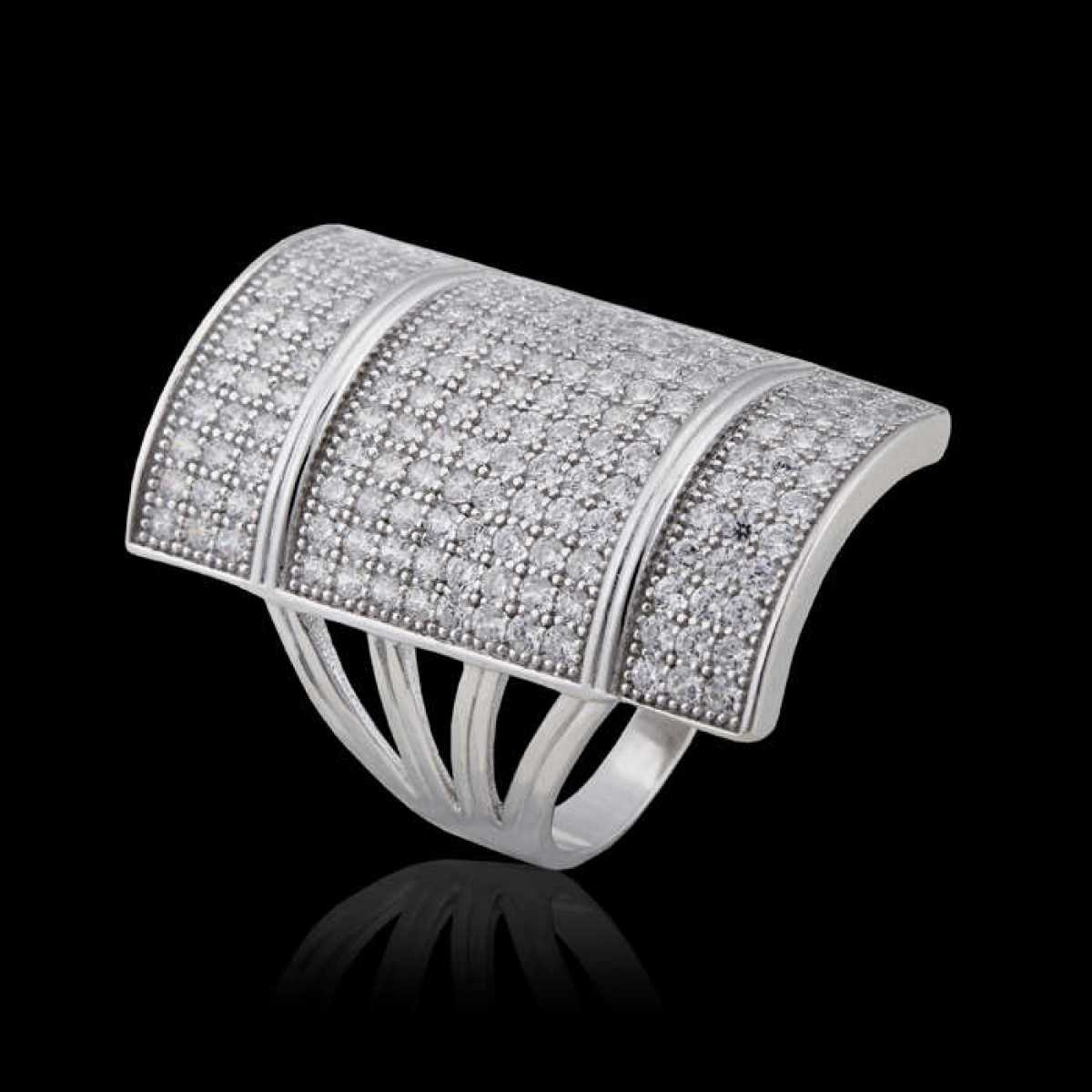 Silver Shine 92.5 Sterling Silver  Shine Diamonds Big Silve Ring  for Mens