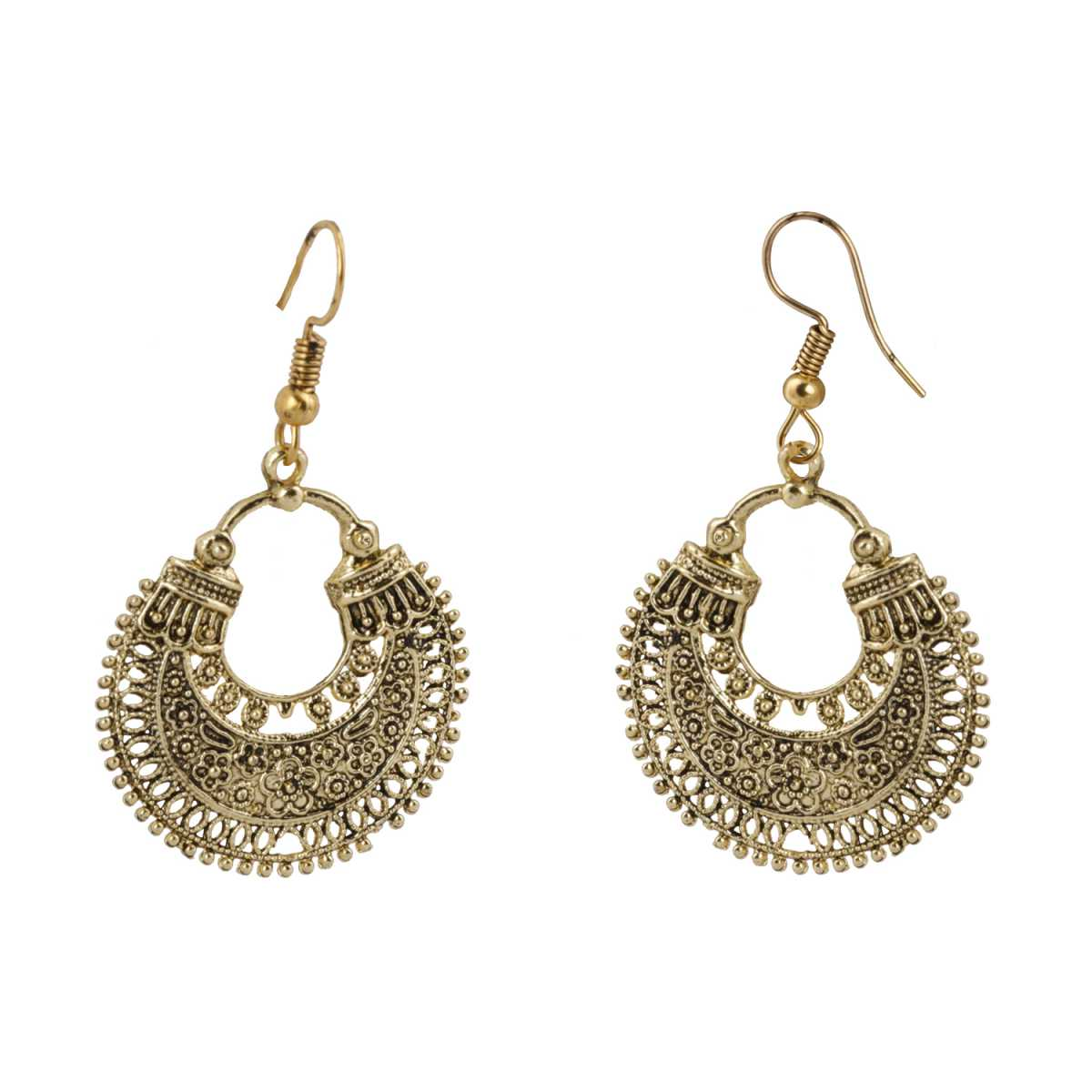Silver Shine Facinating Chandbali Unique Golden Earrings for Women