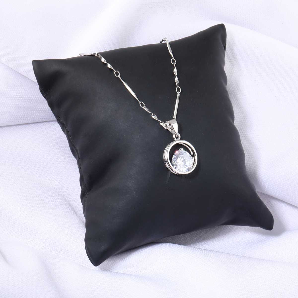 Silver Plated Chain With Solitaire Diamond In Circle  Pendant  For Women