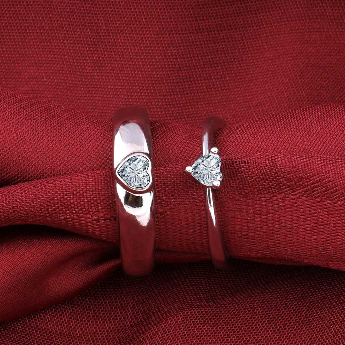 silverplated Heart Solitaire His and Her Adjustable proposal Diamond couple ring For Men And Women Jewellery