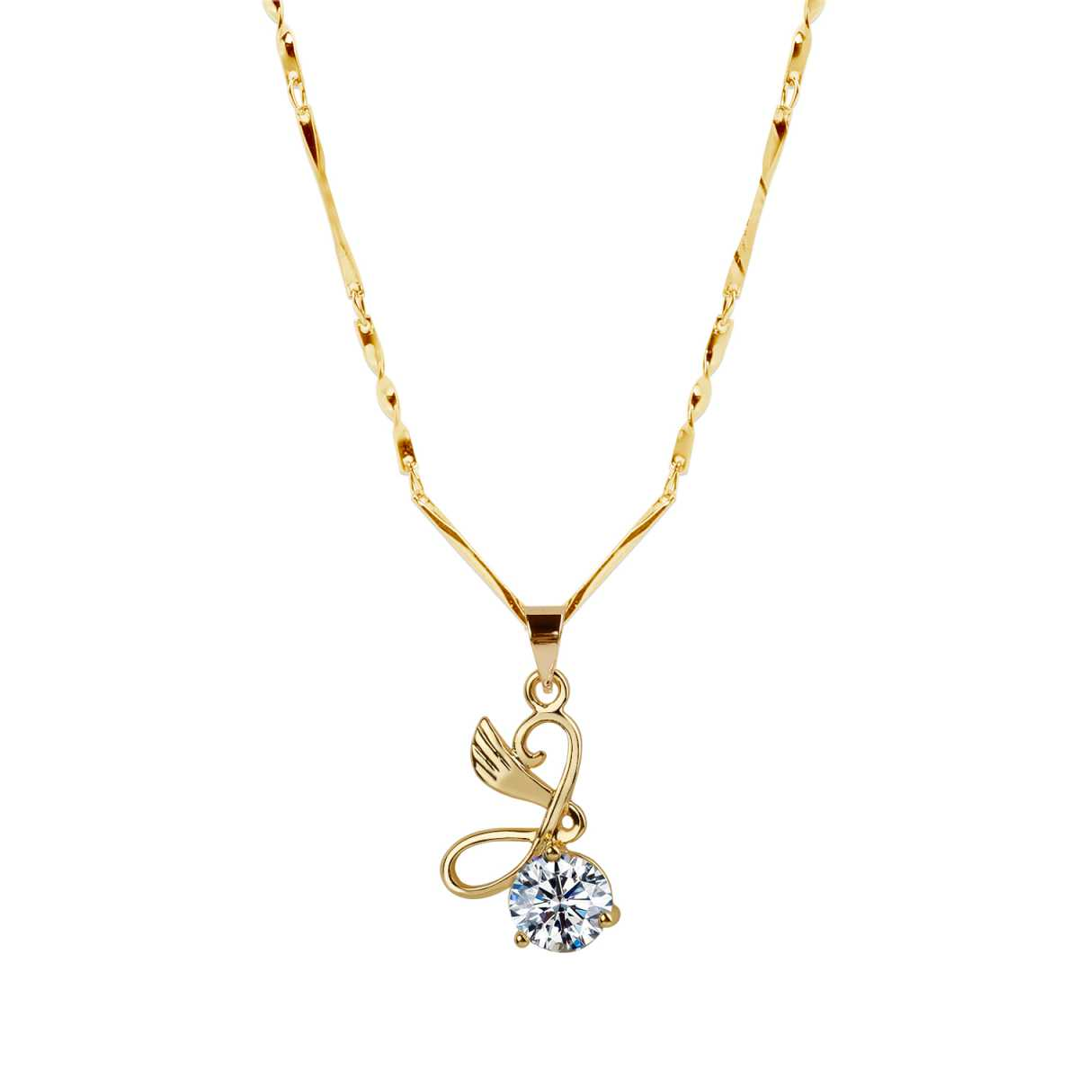 Gold Plated chain With Unique Shape Solitaire Diamond Pendant For Women