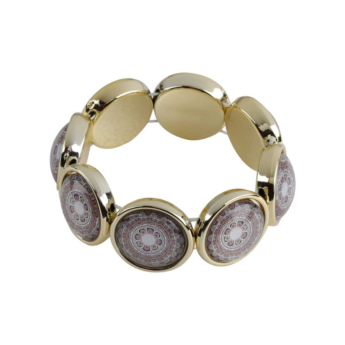 Multi-Colour Traditional Print Stone Coff And Kada Bracelet For Girls And Women