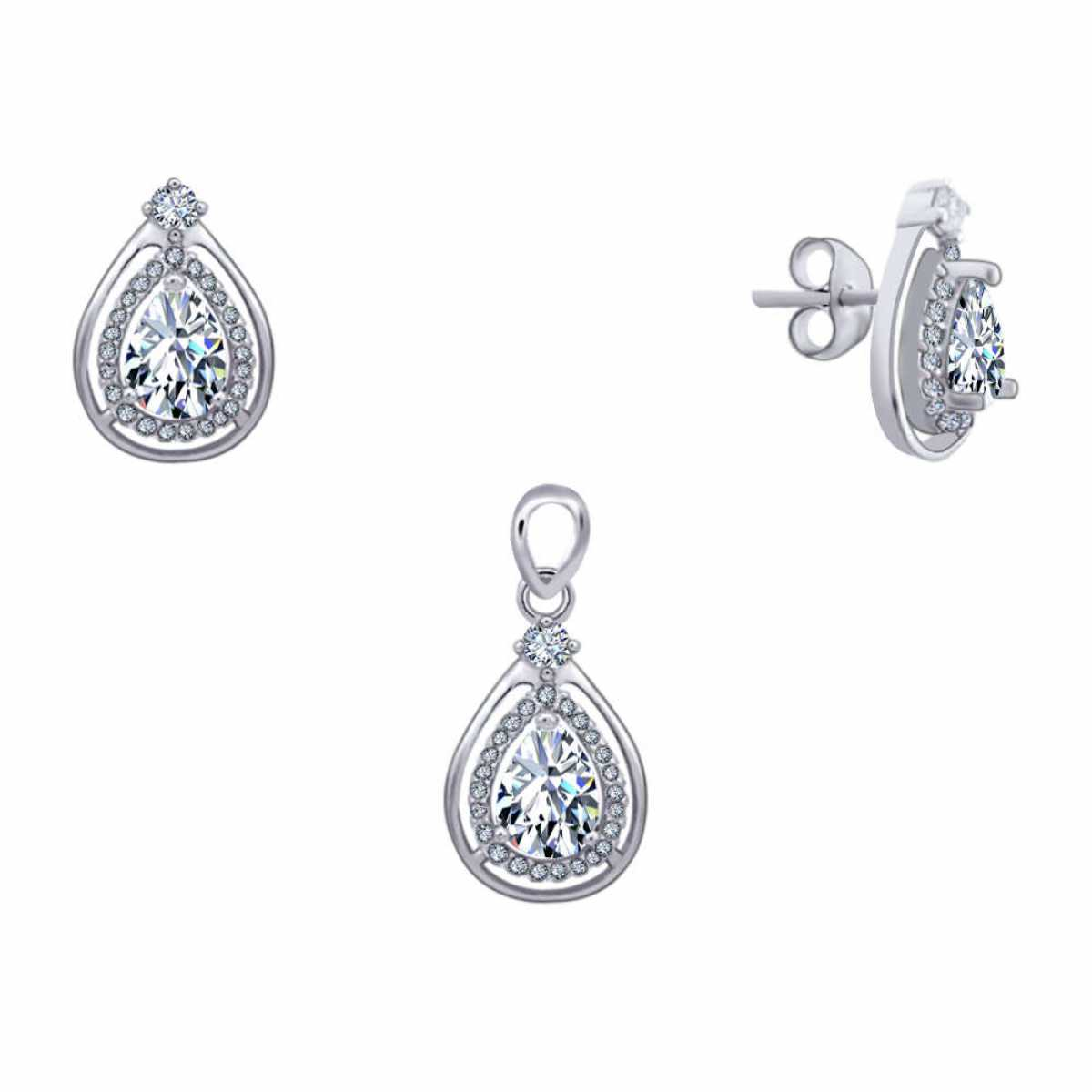 Diamond Drop Pendant Set