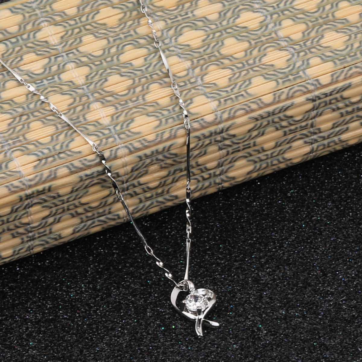 Silver Shine Silver Plated Chain With Stylish  Heart Shape Solitaire Diamond Pendant For Women
