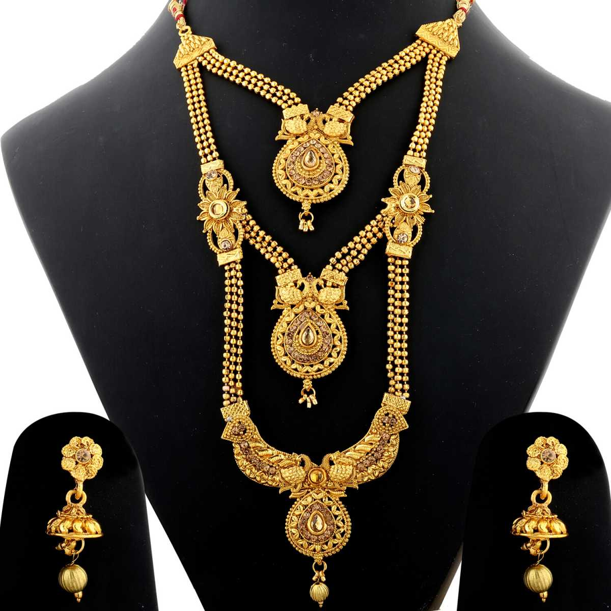 Silver Shine Traditional Gold Plated Ethnic Golden Kundan Stone Studded Triple Layer Three Chain Type Designer Long Bridal Wedding Jevellry Set For Girls and Women