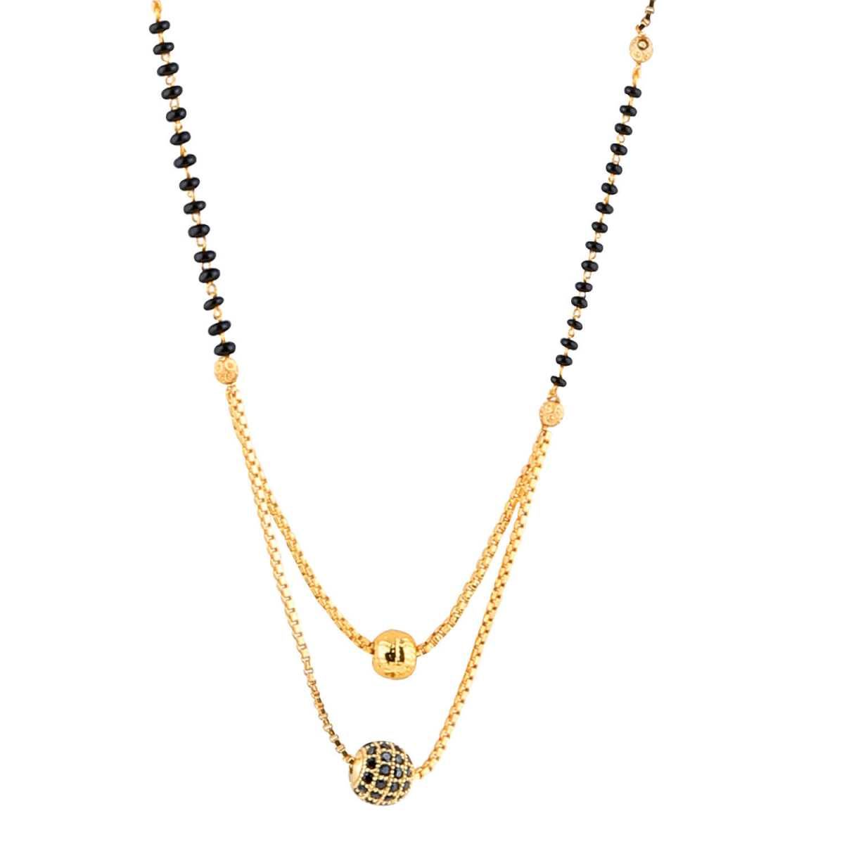 SILVER SHINE Daily Wear Gold Plated Black Diamond Mangalsutra For Women