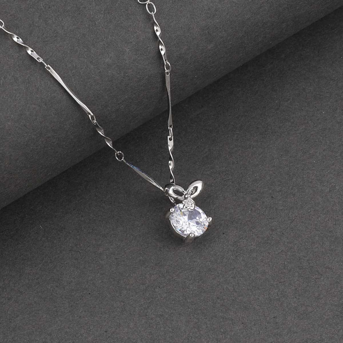 SILVER SHINE  Silver Plated Party Wear Stylish Chain Solitaire Diamond Pendant For Women