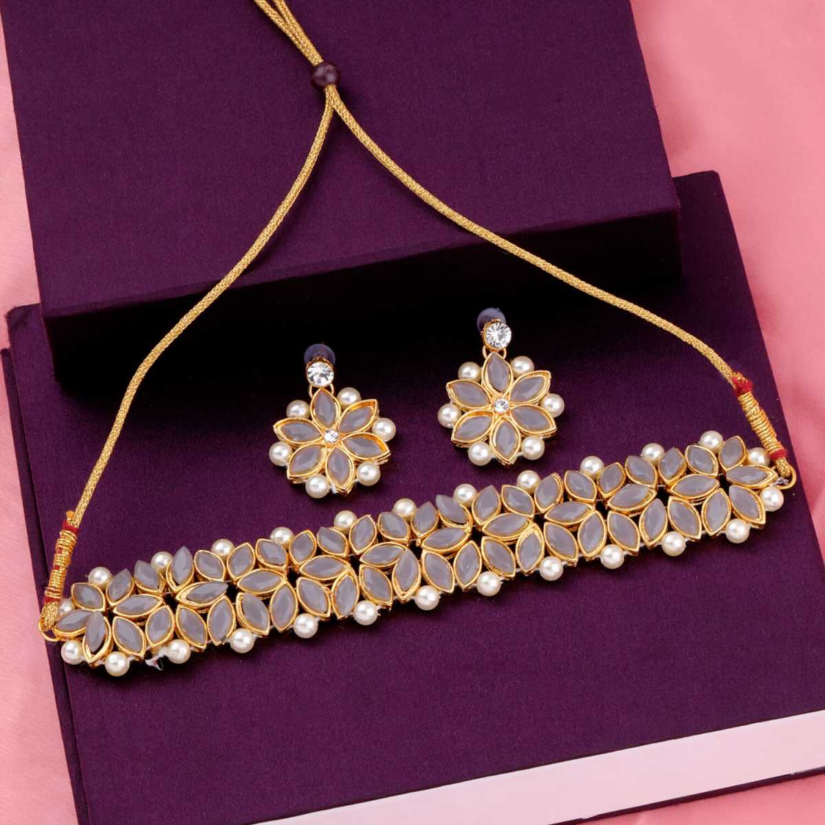 SILVER SHINE Gold Plated Exclusive Grey Stone Choker Set For Girls And Women