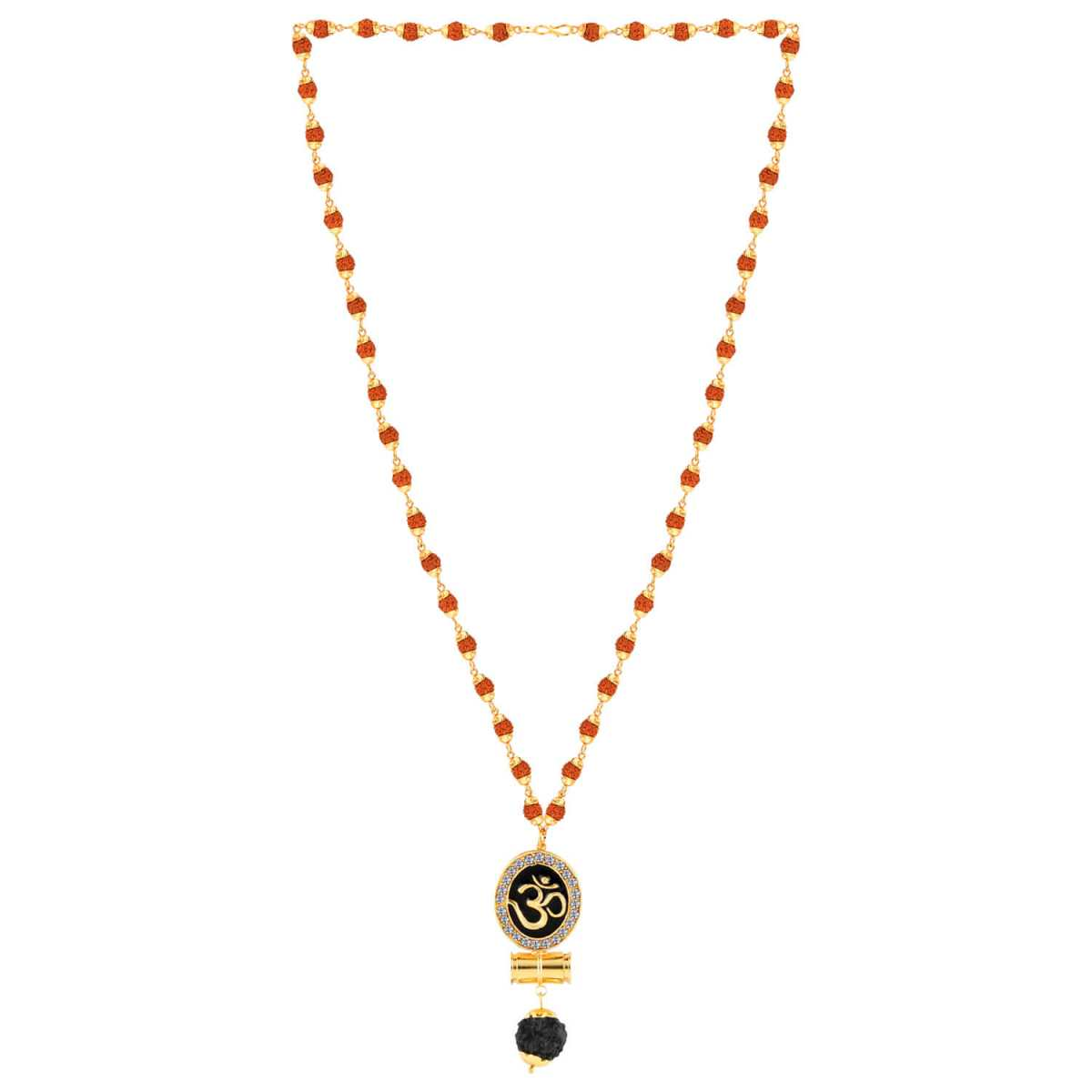 SILVER SHINE Religious Rudraksh Mala Om Gold Pendant for Men and Women