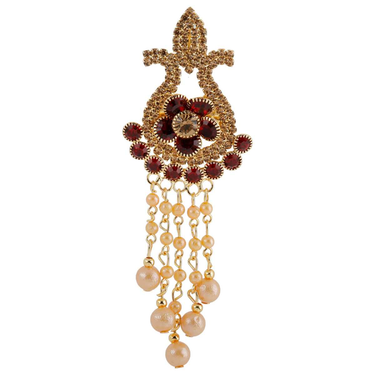 Silver Shine Traditional Gold Plated Antique Maroon Colour Diamond Studded Pearl Drop Designer Wedding Brooch For Unisex Jewellery