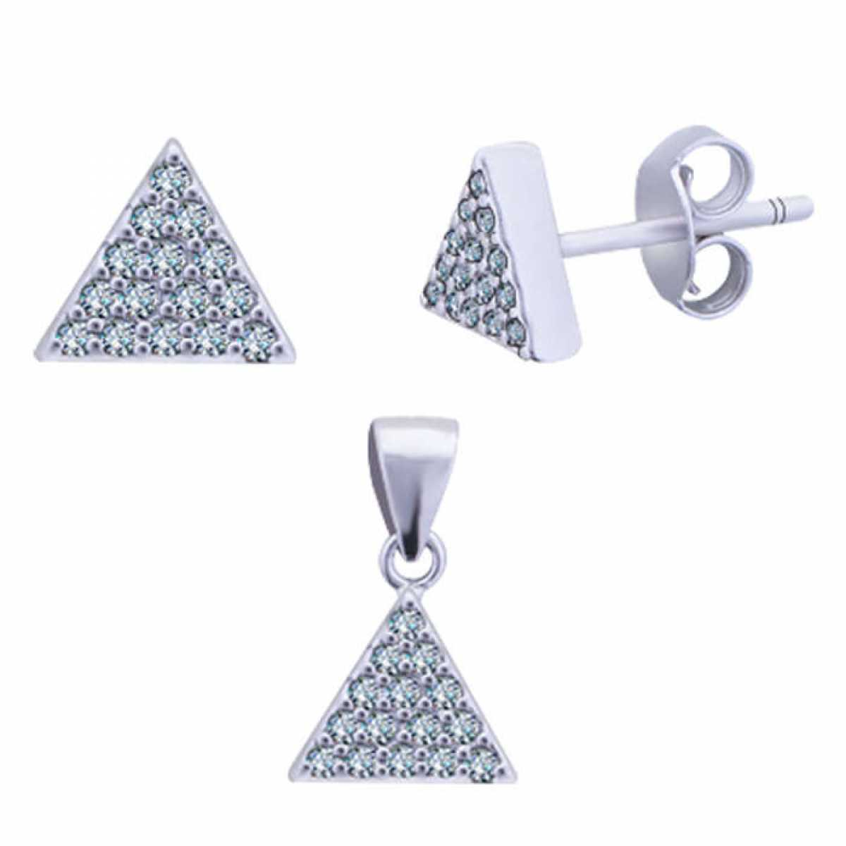 Triangle Silver Pendant Set