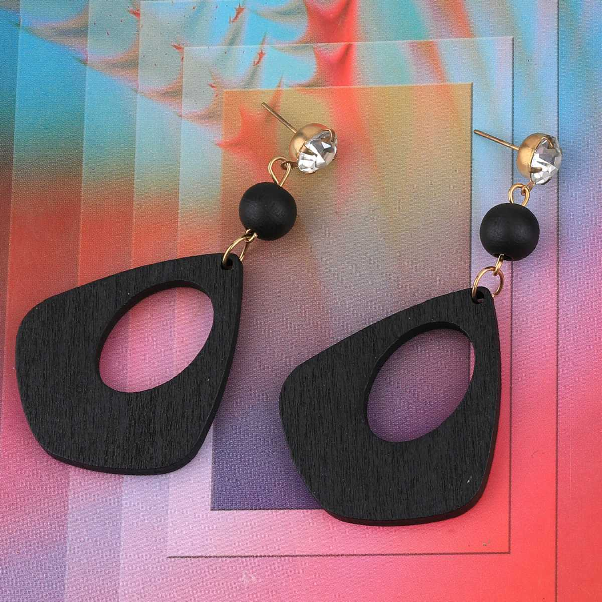 SILVER SHINE Stylish Dangler Diamond Black Wooden Earrings  Light Weight For Girls and Women