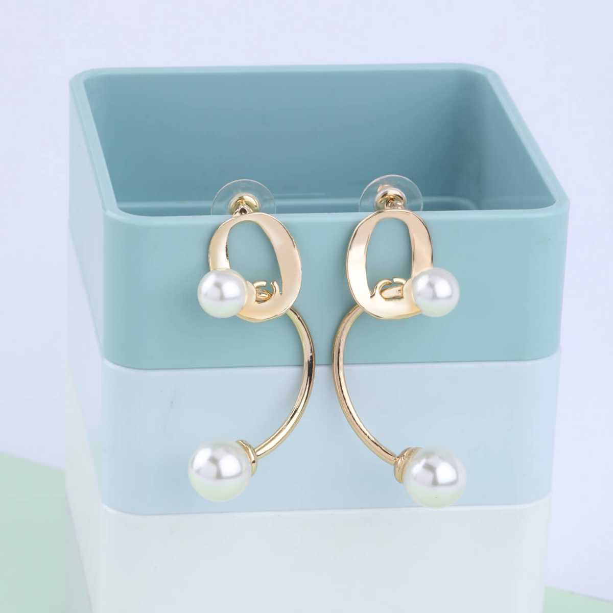 SILVER SHINE Party Wear Antique Pearl Stud Earring For Women Girl