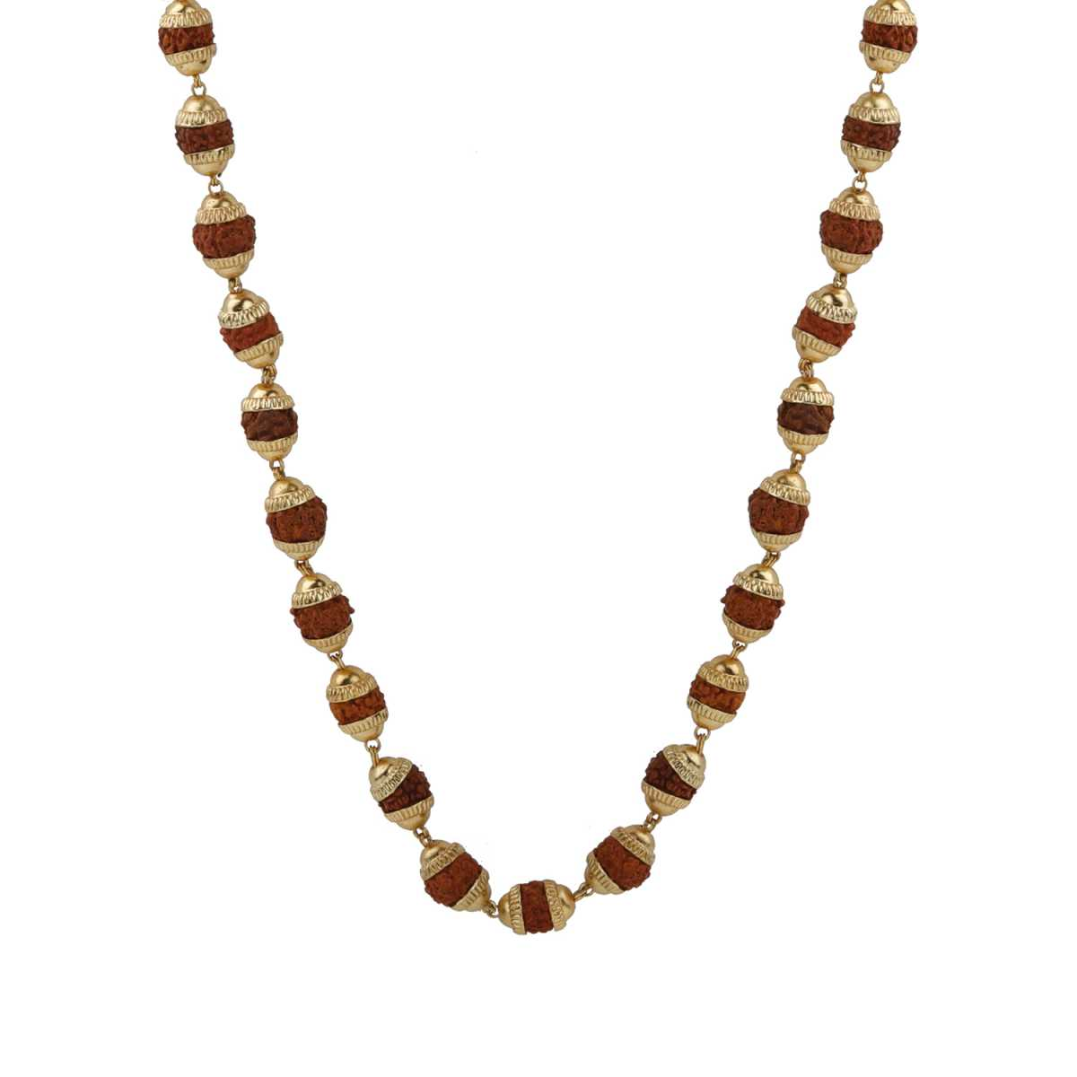Alluring Gold Plated Exotic Rudraksh Mala Of 12 Inch Chain Unisex Rudraksh Chain For Men And Women