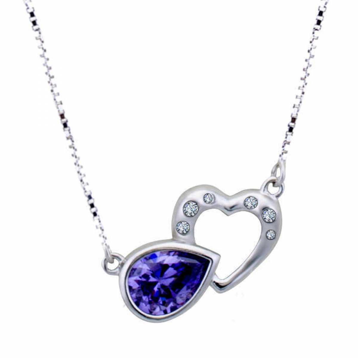 Purple Stone With Heart Silver Chain
