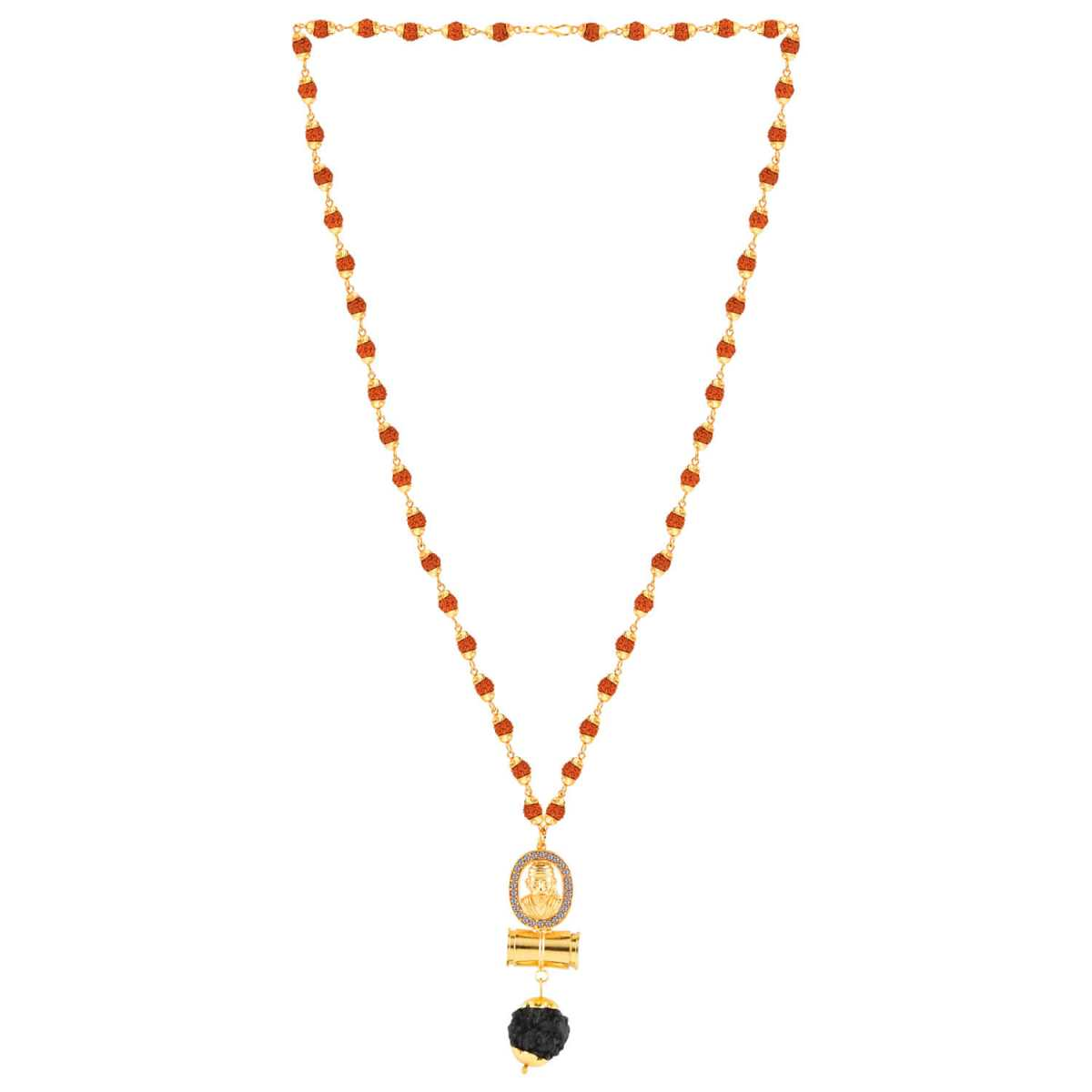 SILVER SHINE Gold Plated Traditional Rudraksh Mala SAI BABA Pendant Mala for Men and Women