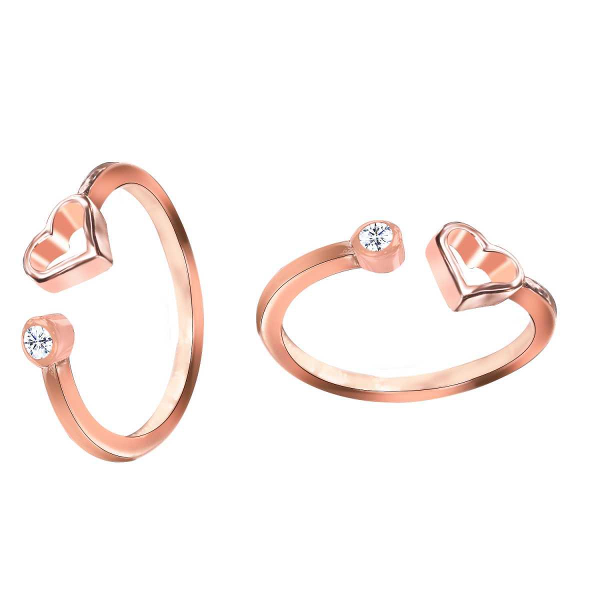 Beautiful Diamond And Heart Rose Gold  Toe Rings