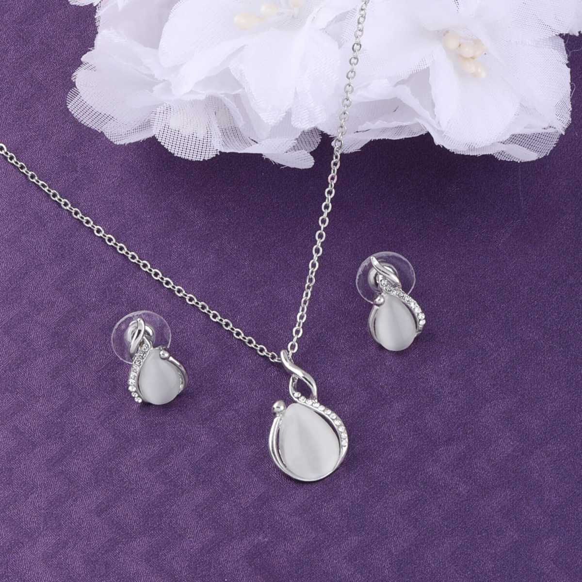SILVER SHINE Delicate Silver Plated Party Wear  Pendant Set For Women Girl