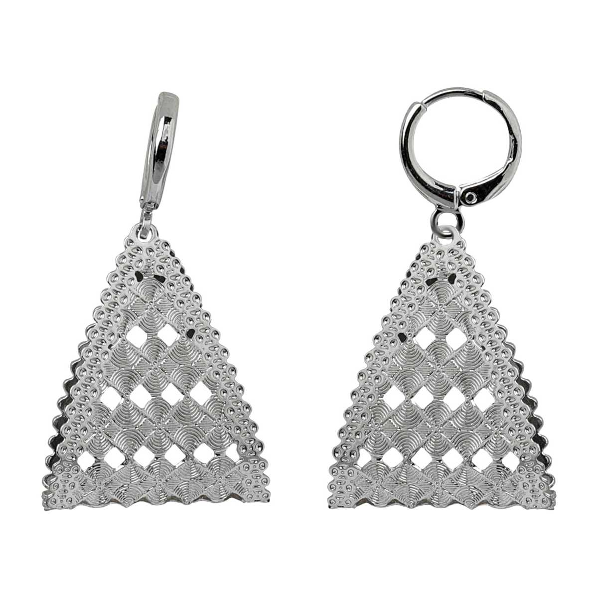 Silver Shine Stylish Silver Triangle Clip On Bali Earring for Women