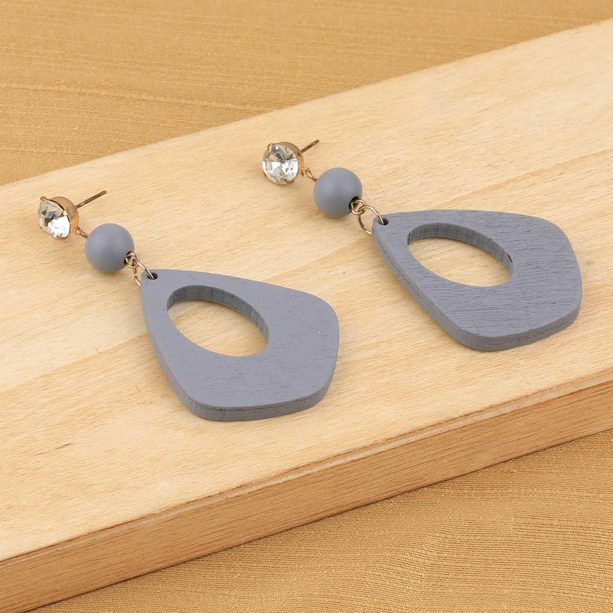 SILVER SHINE Party Wear Dangler Diamond Gery Wooden Earrings For Girls and Women …