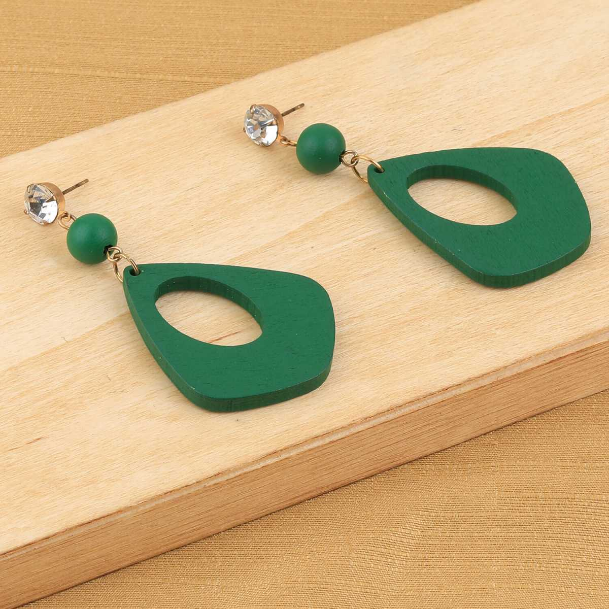 SILVER SHINE Ethnic Drop Diamond Gren Wooden Light Weight Earrings for Girls and Women.