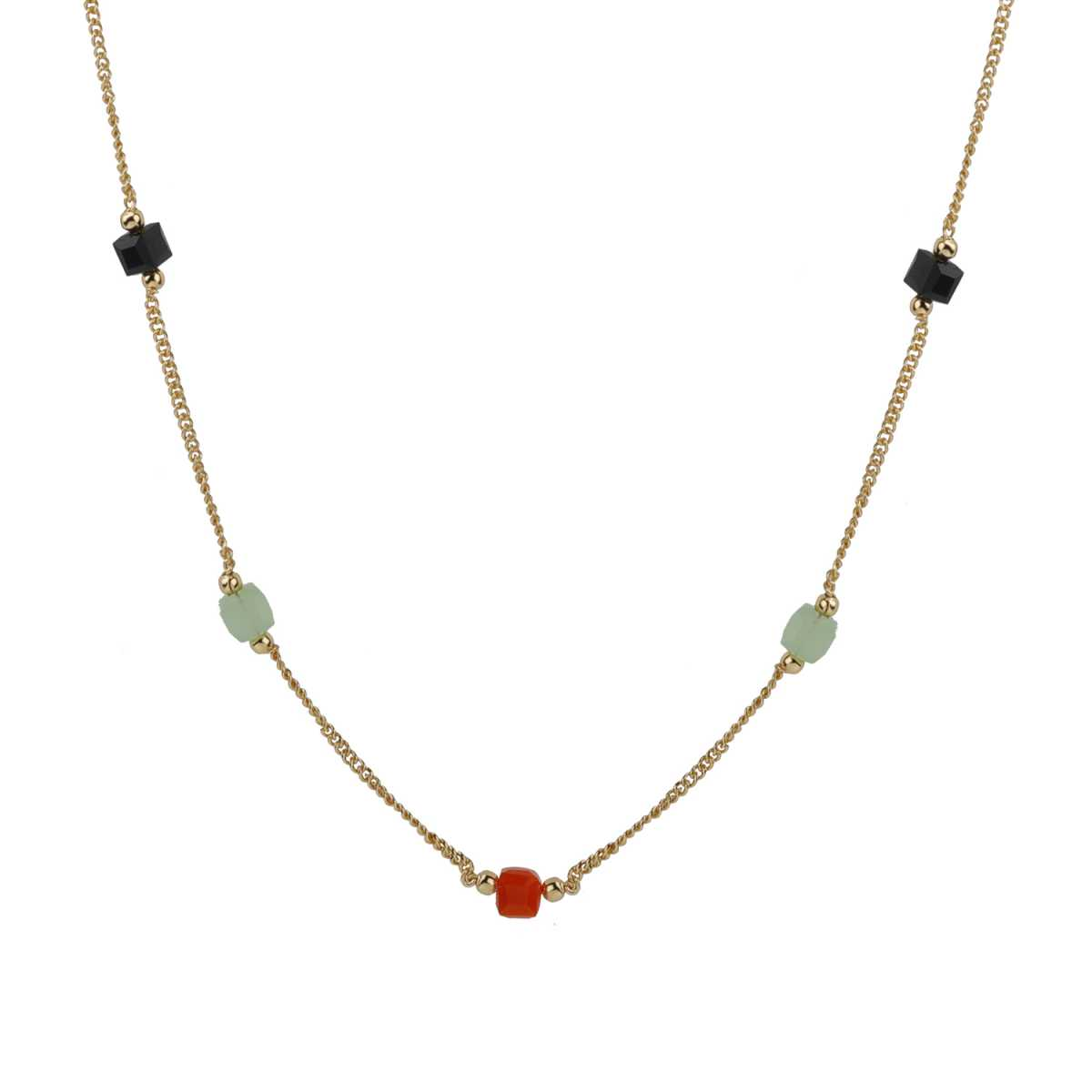 Ethnic Gold 18 Inch Chain With Multi-Color Beads Pretty Look For Girls And Women Jewellery
