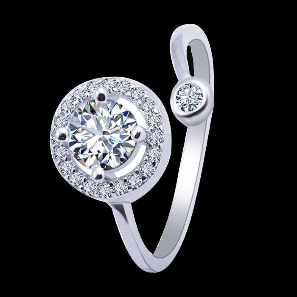 Diamond in Circle Silver Ring
