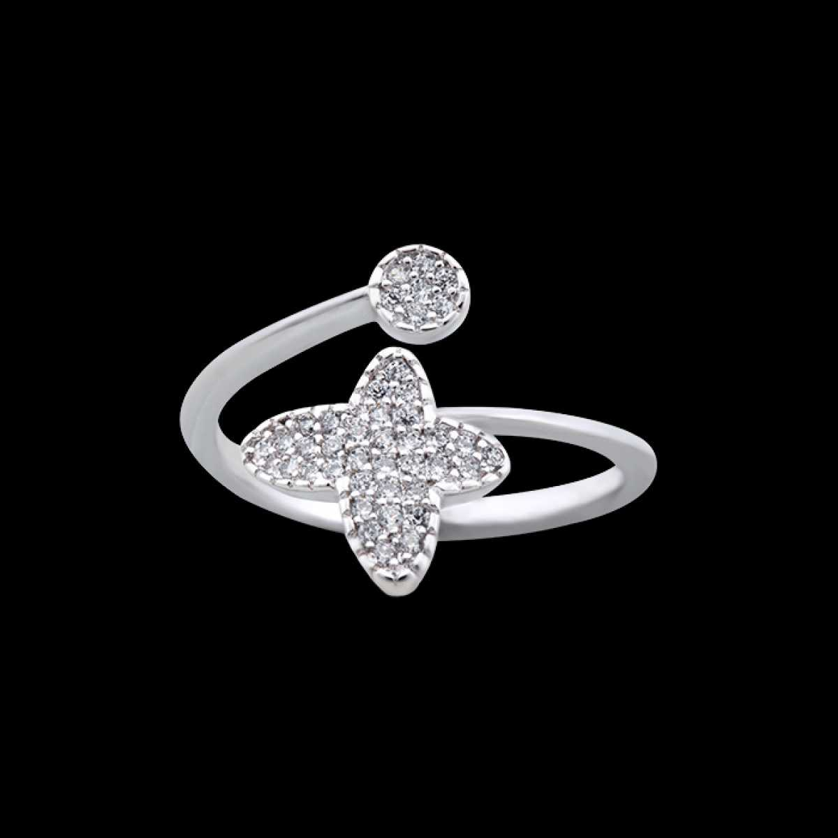 Diamond Butterfly Silver Ring