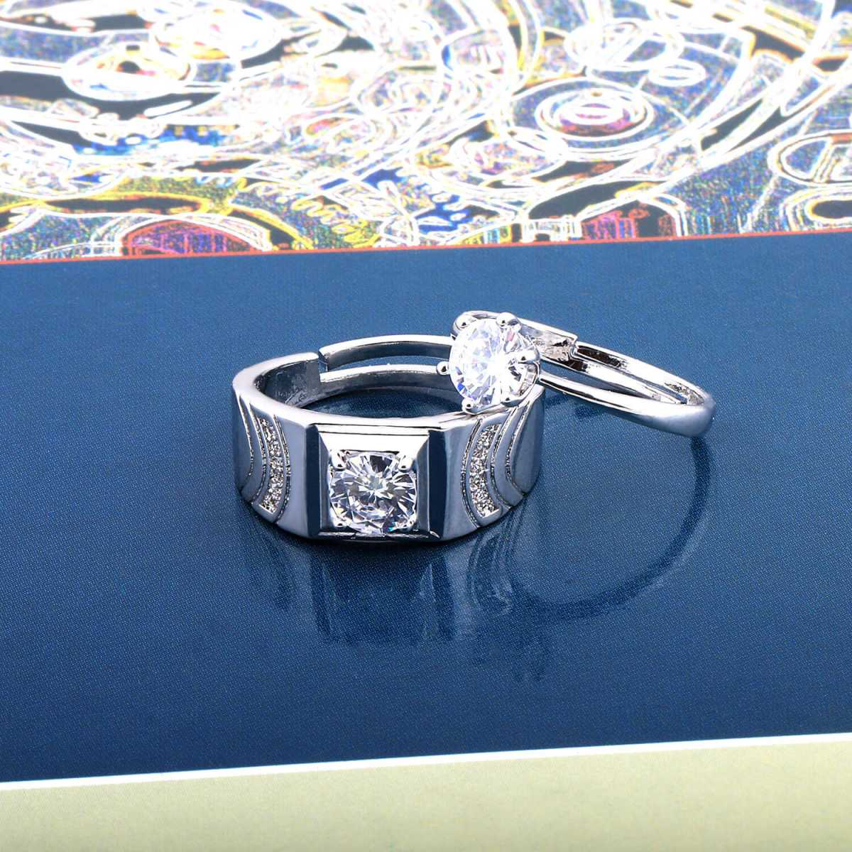 SILVERSHINE,silver plated fetching round diamond and marvellous designer adjustable couple ring for men and women.