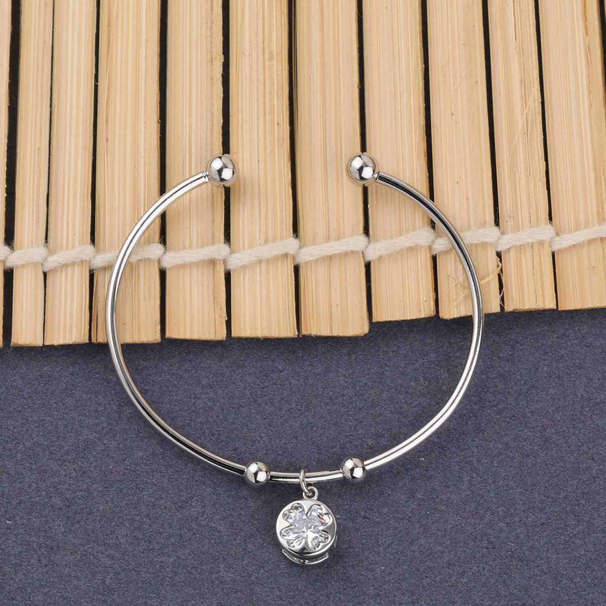 SILVER SHINE Party Wear Elegant Look  Adjustable Bracelet With Diamond For Women Girls