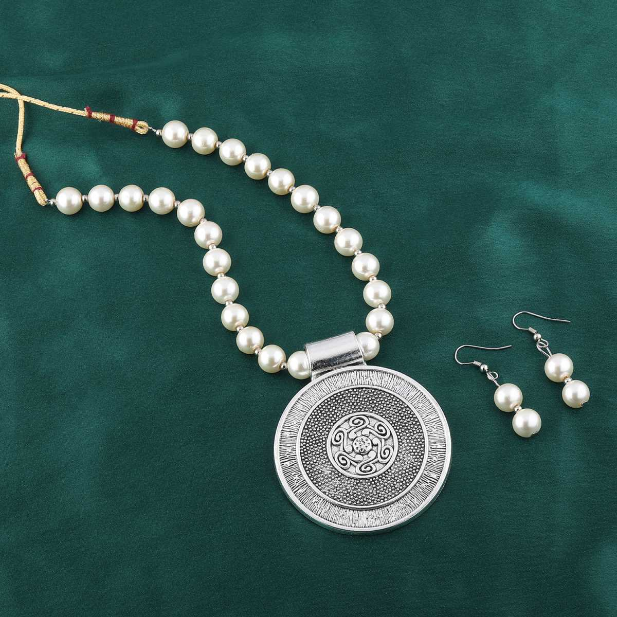 Exclusive Royal Oxidised Pendant White Pearl Jewellery set for Women