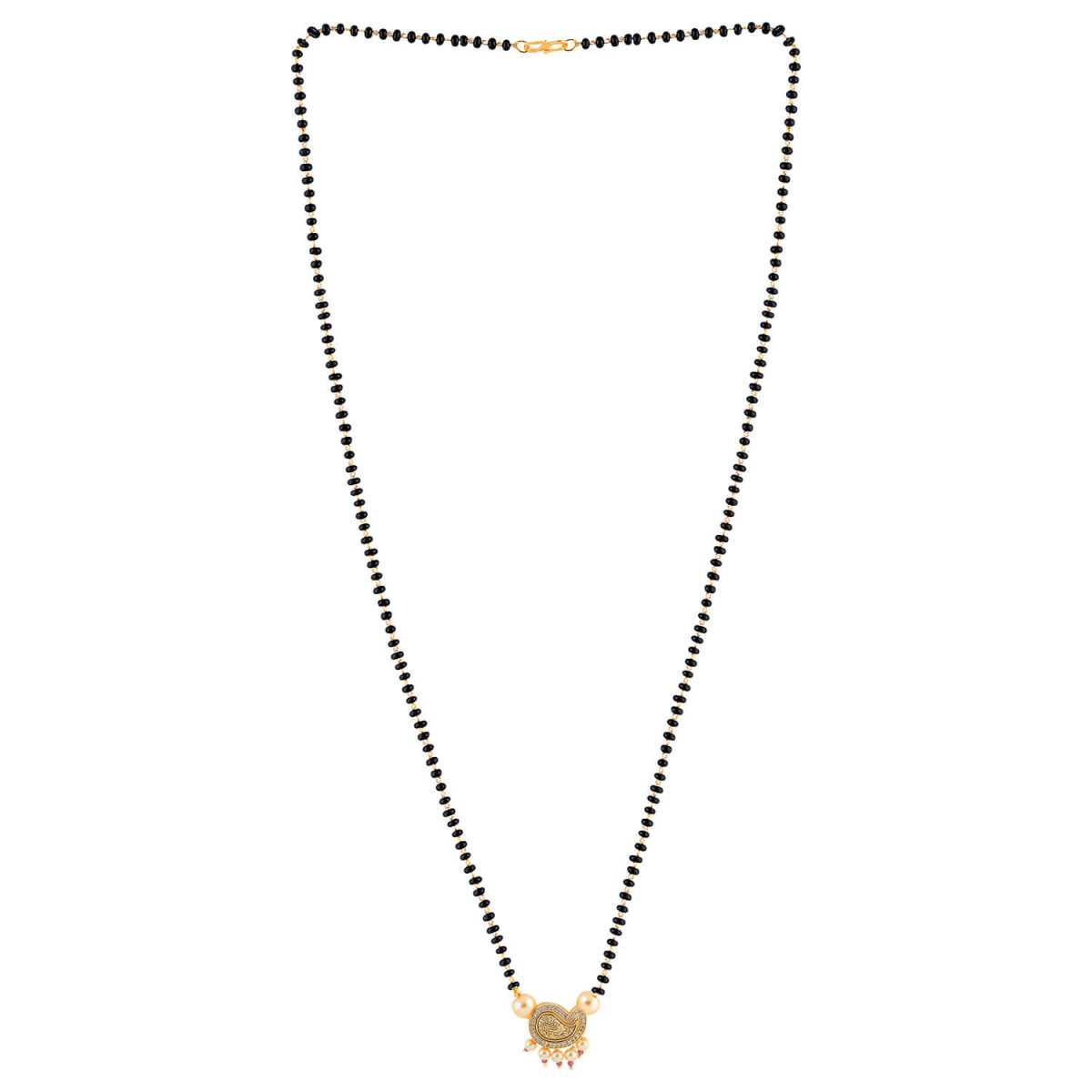 SILVER SHINE Gold Plated Party Wear Designer Pandent Mangalsutra For Women